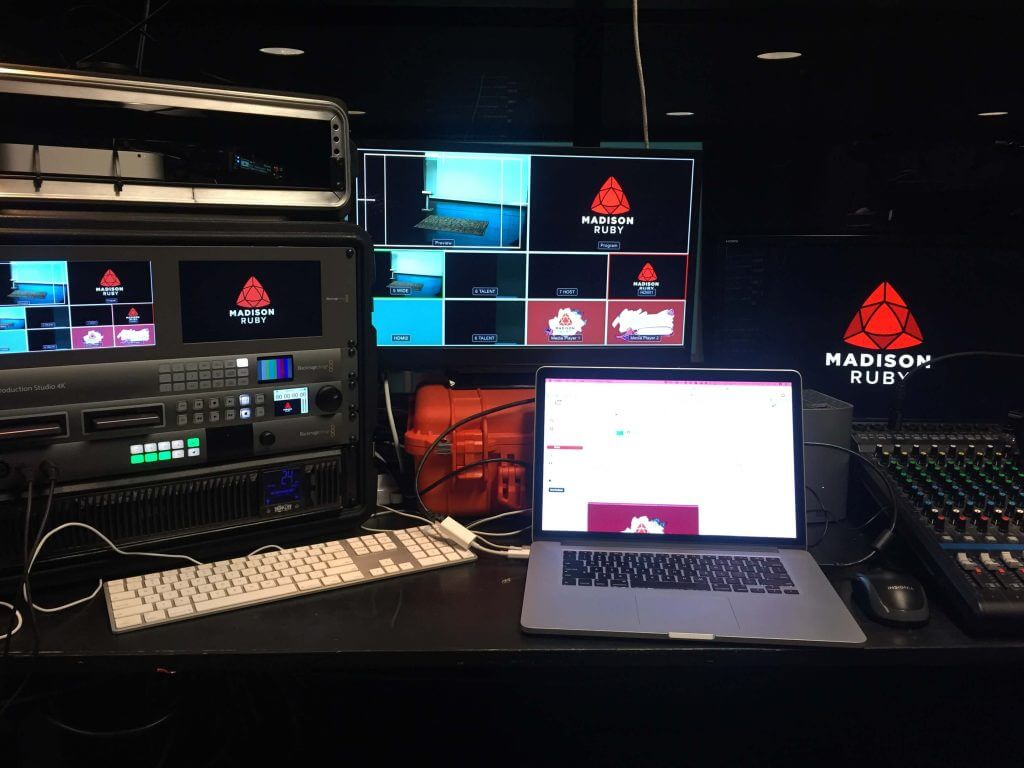 The setup for Madison+ Ruby conference